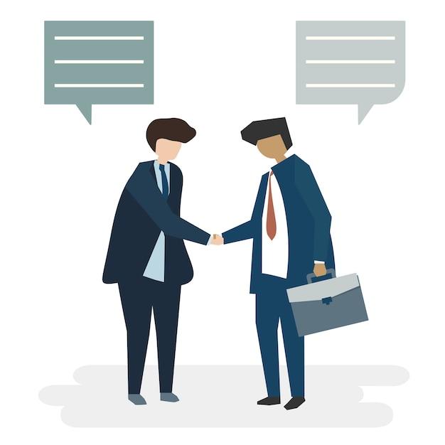 Illustrazione del concetto di accordo di affari dell'avatar della gente Vettore gratuito
