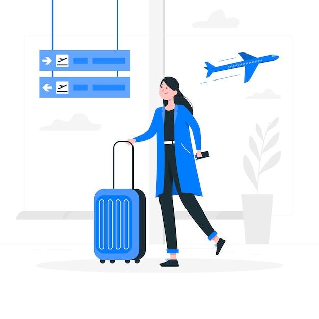 Illustrazione del concetto di aeroporto Vettore gratuito