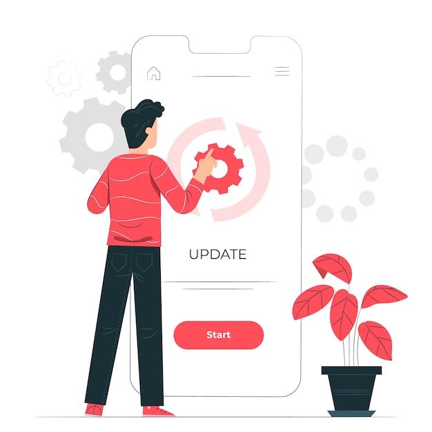 Illustrazione del concetto di aggiornamento Vettore gratuito