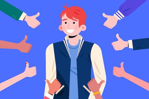 Illustrazione del concetto di approvazione pubblica con i pollici in su Vettore gratuito
