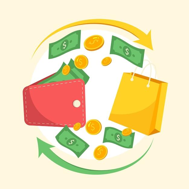 Illustrazione del concetto di cashback colorato Vettore gratuito