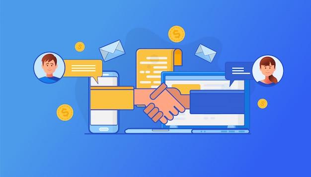 Illustrazione del concetto di crm Vettore Premium