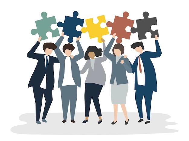 Illustrazione del concetto di lavoro di squadra avatar persone Vettore gratuito