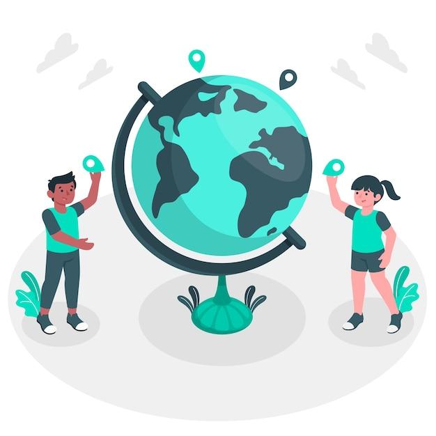 Illustrazione del concetto di mondo Vettore gratuito