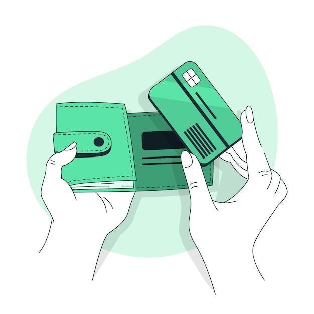 Illustrazione del concetto di portafoglio Vettore gratuito