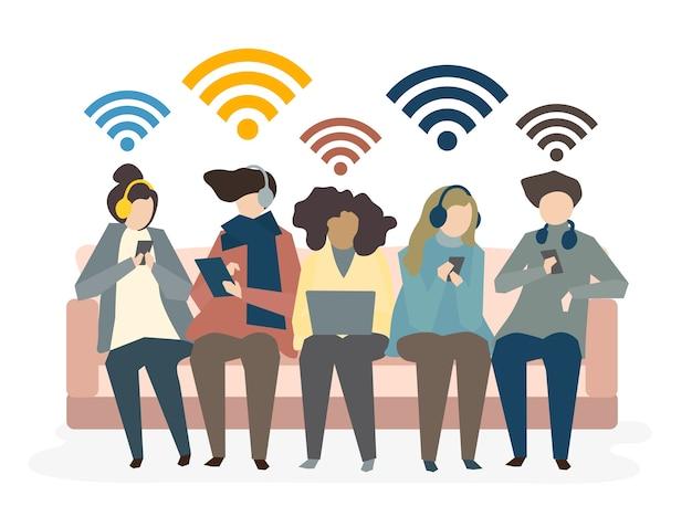 Illustrazione del concetto di rete sociale di avatar Vettore gratuito