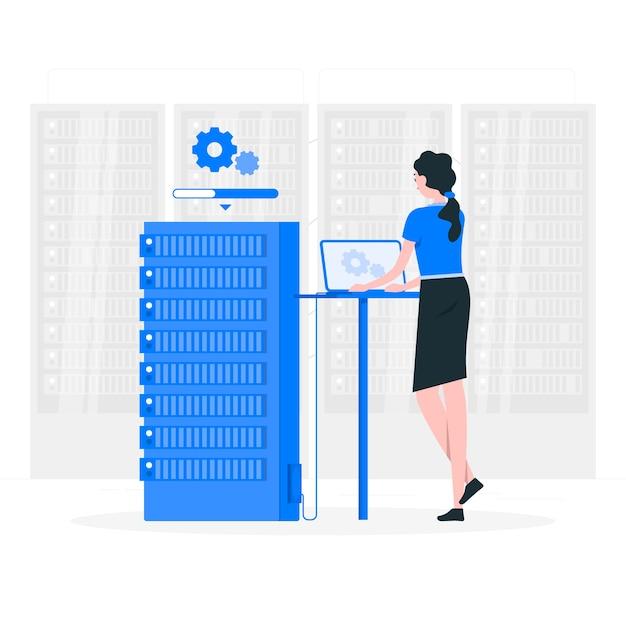 Illustrazione del concetto di stato del server Vettore gratuito