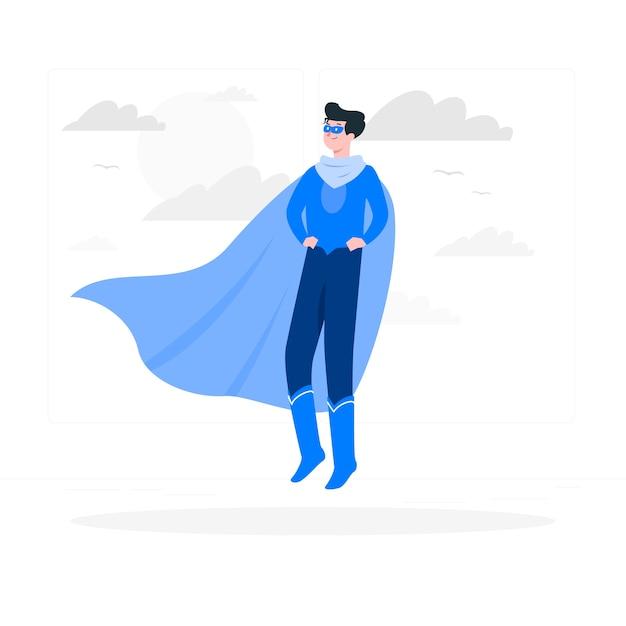 Illustrazione del concetto di supereroe Vettore gratuito