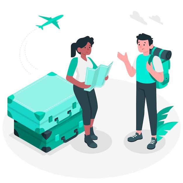 Illustrazione del concetto di viaggio Vettore gratuito