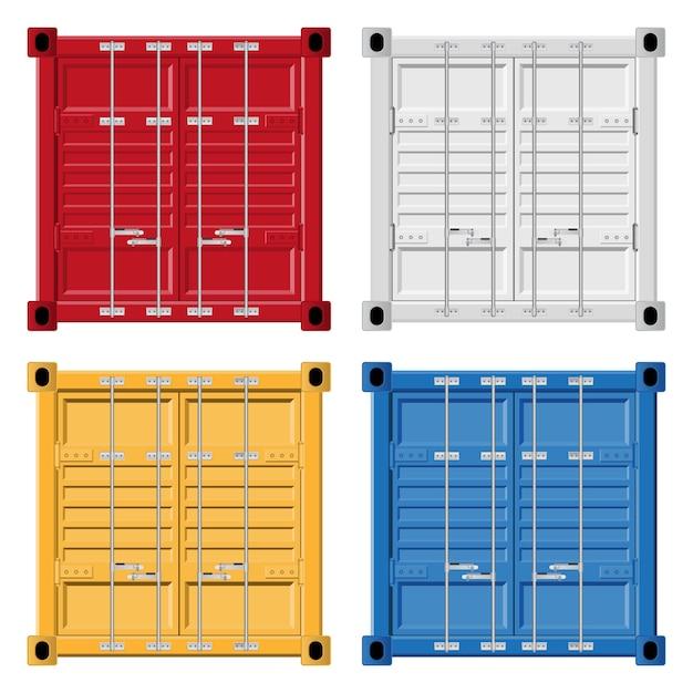Illustrazione del contenitore di carico isolata su bianco. Vettore Premium