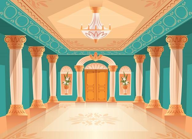 Illustrazione del corridoio di ricezione del salone o della sala da ballo del museo o della stanza di camera di lusso. Vettore gratuito