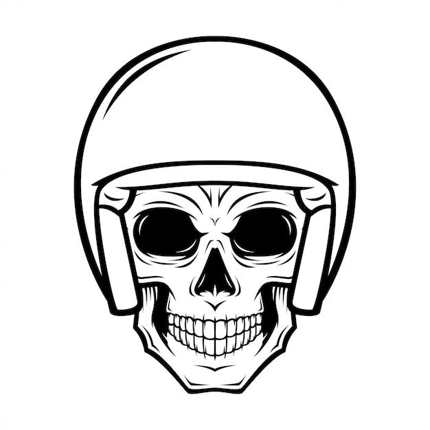 Illustrazione del cranio del casco Vettore Premium