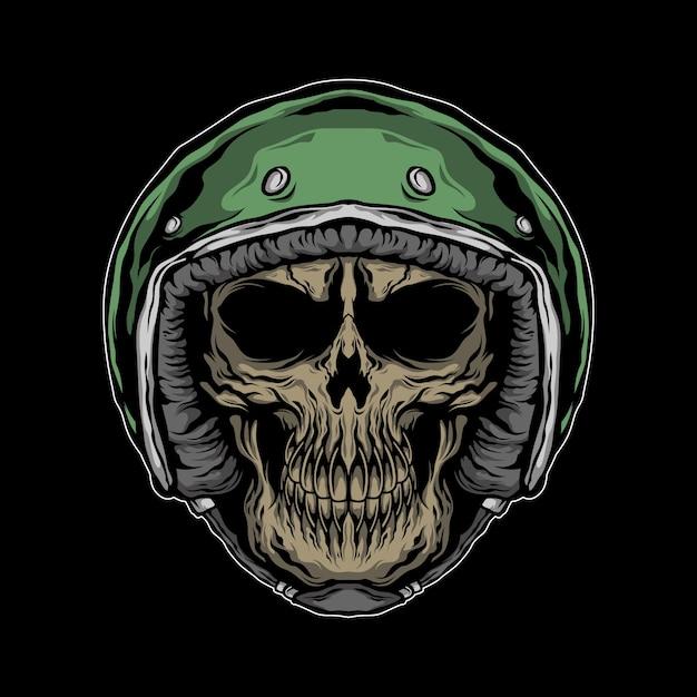Illustrazione del cranio del motociclista Vettore Premium