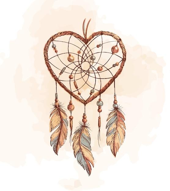 Illustrazione del cuore di dreamcatcher Vettore Premium