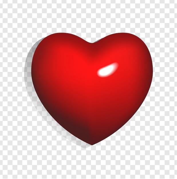 Illustrazione del cuore rosso brillante 3d isolato su sfondo trasparente. può essere utilizzato per matrimoni, poster, inviti, biglietti di auguri e banner web. elemento romantico di amore e san valentino. Vettore Premium