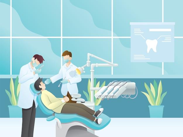 Illustrazione del dentista Vettore Premium