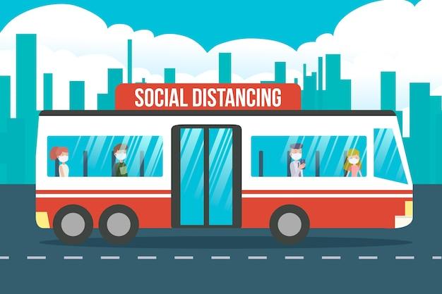 Illustrazione del distanziamento sociale nei trasporti pubblici Vettore gratuito