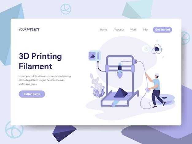 Illustrazione del filamento di stampa 3d Vettore Premium