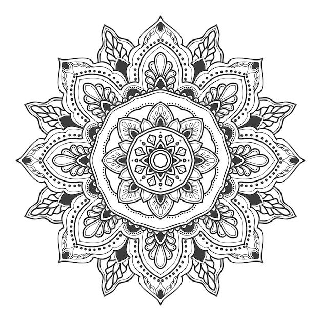 Illustrazione del fiore della mandala per più scopi Vettore Premium