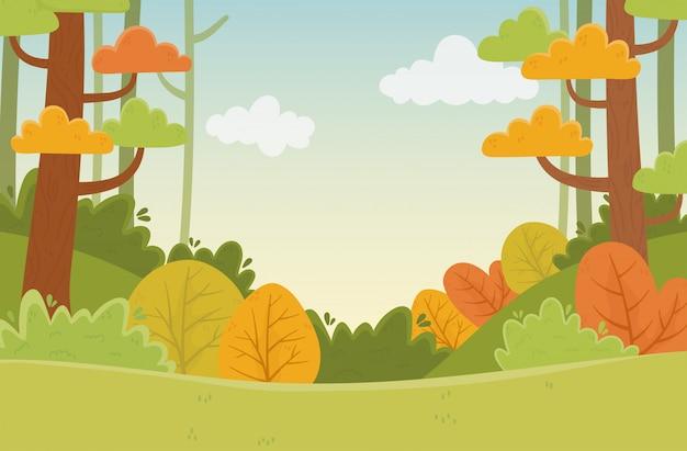 Illustrazione del fogliame della natura degli alberi delle foglie delle piante della vegetazione del paesaggio Vettore Premium