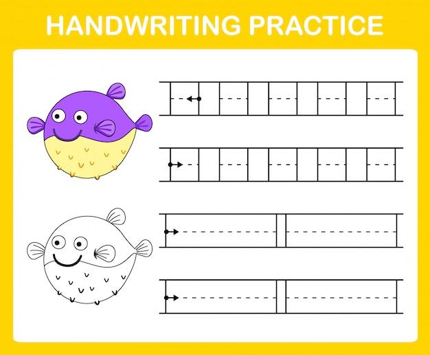 Illustrazione del foglio di pratica della scrittura a mano Vettore Premium