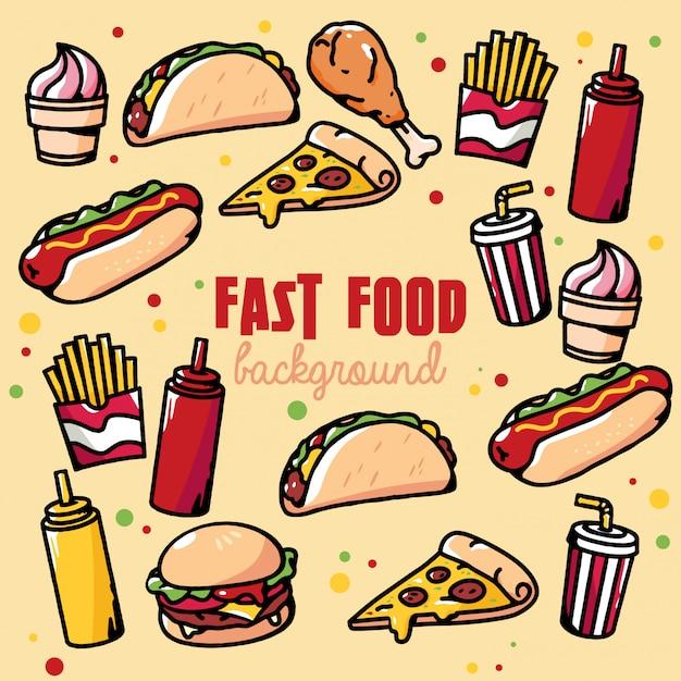 Illustrazione del fondo degli alimenti a rapida preparazione retro Vettore Premium