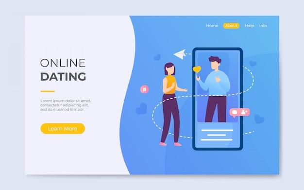 Illustrazione del fondo della pagina di atterraggio di app di datazione online di stile piano moderno Vettore Premium