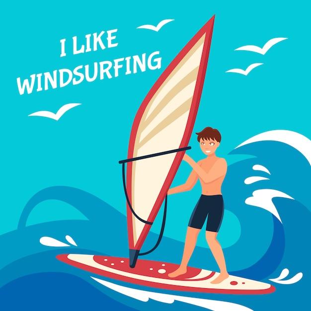 Illustrazione del fondo di windsurf Vettore gratuito