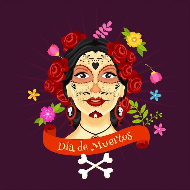 Illustrazione del fronte di catrina decorato con fiori e tibie incrociate su viola porpora per la celebrazione di dia de muertos Vettore Premium
