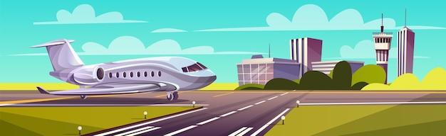 Illustrazione del fumetto, aereo di linea grigio, getto sulla pista. decollo o atterraggio di un aereo commerciale Vettore gratuito