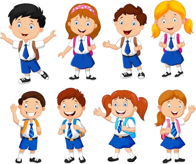 Illustrazione del fumetto dei bambini delle scuole Vettore Premium