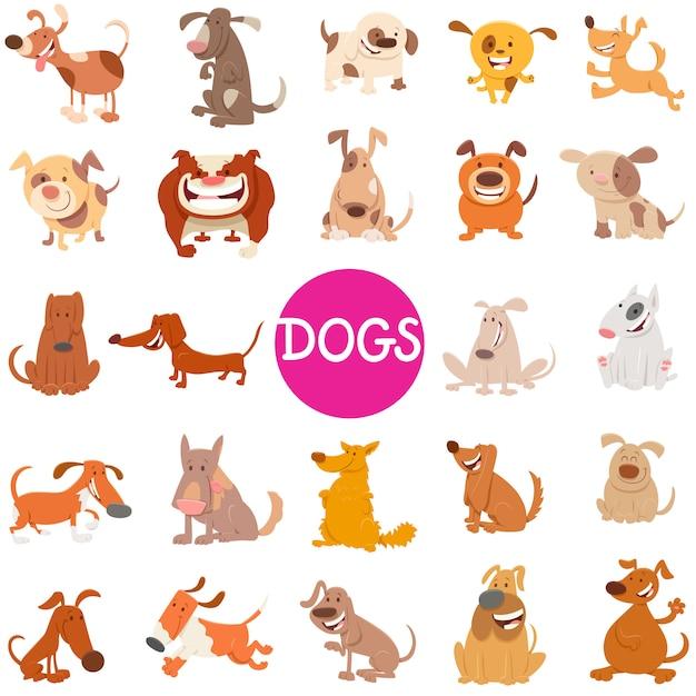 Illustrazione del fumetto dei caratteri animali dei cani messi Vettore Premium