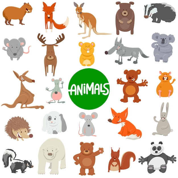Illustrazione del fumetto dei caratteri degli animali selvatici messi Vettore Premium