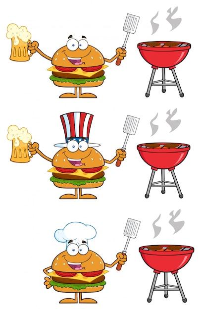 Illustrazione del fumetto dei caratteri dell'hamburger Vettore Premium