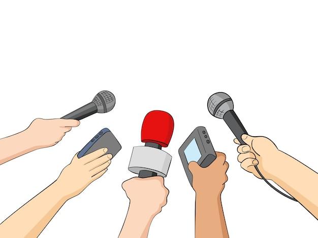 Illustrazione del fumetto dei giornalisti Vettore Premium