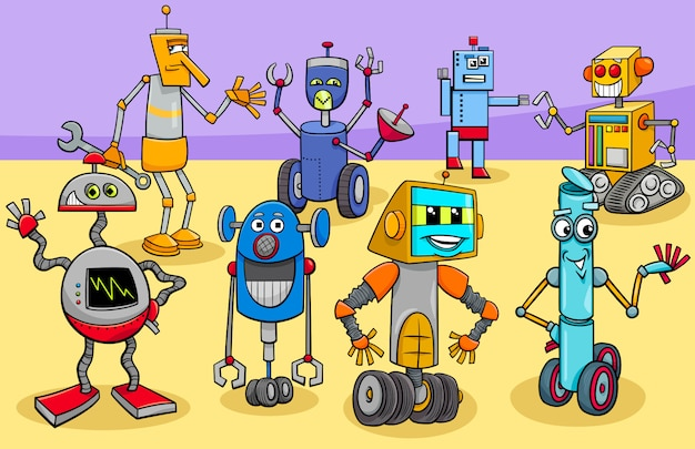 Illustrazione del fumetto dei personaggi dei robot felici Vettore Premium