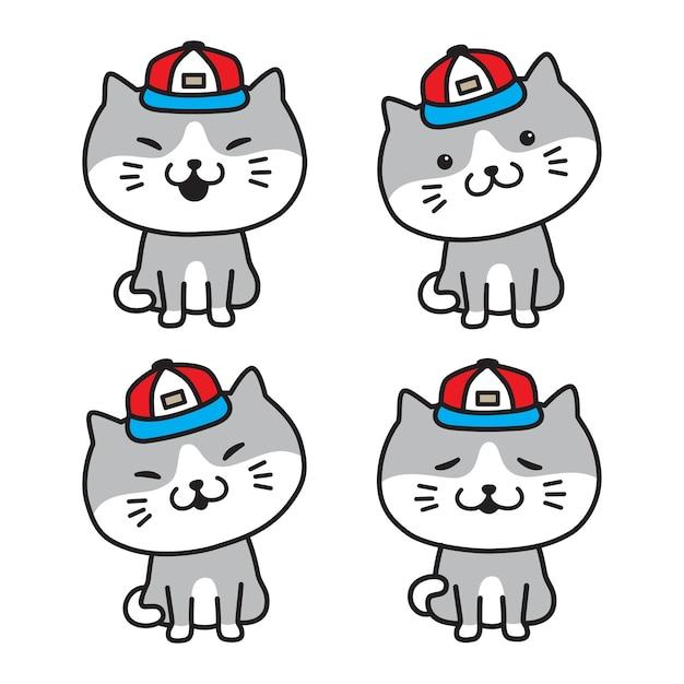Illustrazione del fumetto del cappuccio dell'icona di calicò del gattino di vettore del gatto Vettore Premium