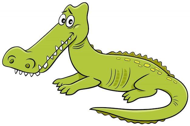 Illustrazione del fumetto del carattere dell'animale selvatico del coccodrillo Vettore Premium