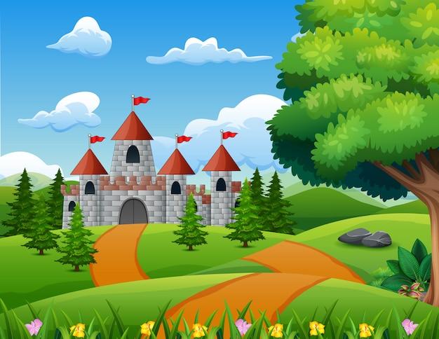 Illustrazione del fumetto del castello sul paesaggio della collina Vettore Premium