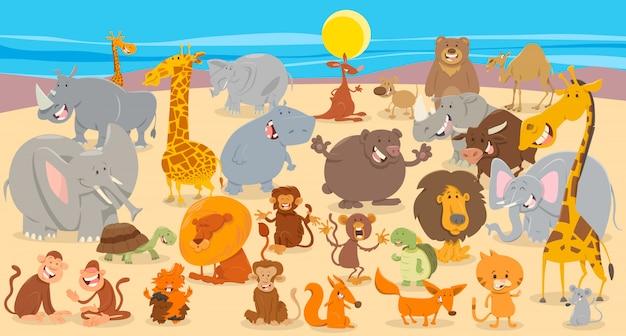 Illustrazione del fumetto del fondo del gruppo degli animali Vettore Premium