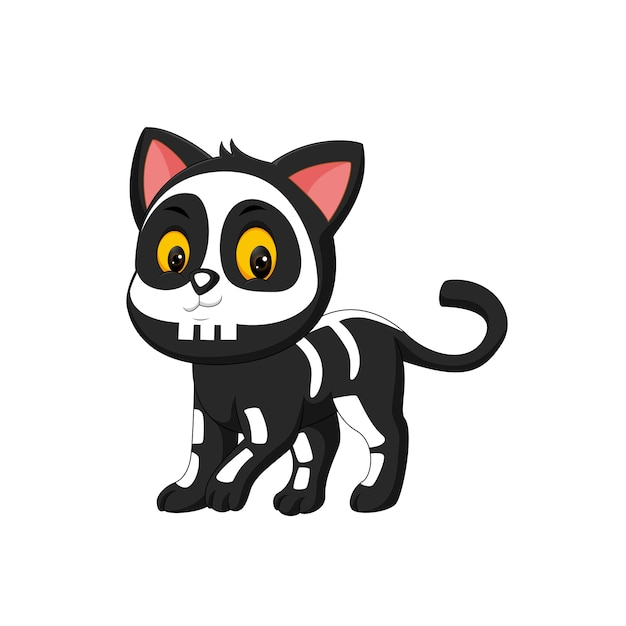 Illustrazione del fumetto del gattino di halloween Vettore Premium