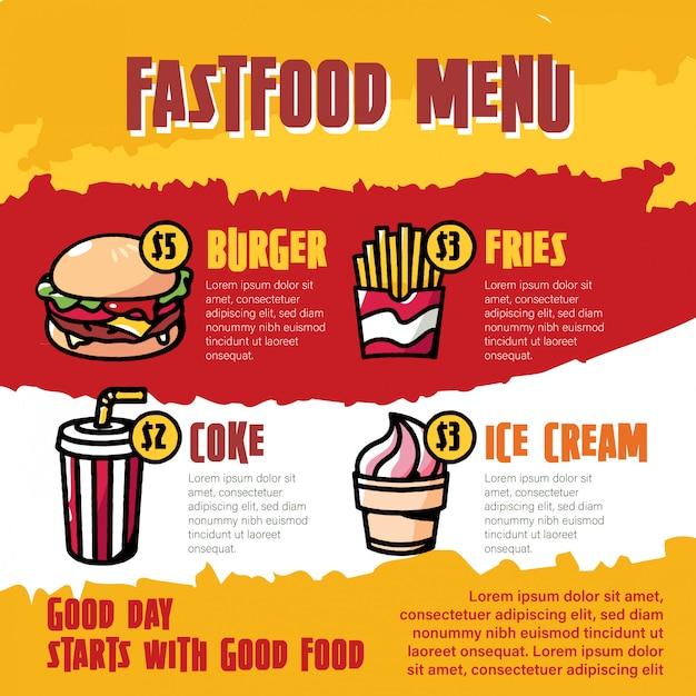 Illustrazione del fumetto del menu degli alimenti a rapida preparazione Vettore Premium