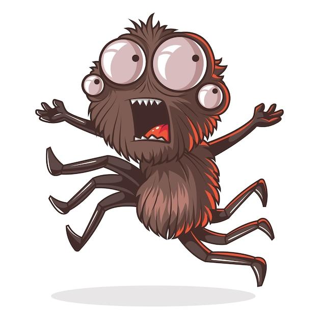 Illustrazione del fumetto del ragno carino. Vettore Premium