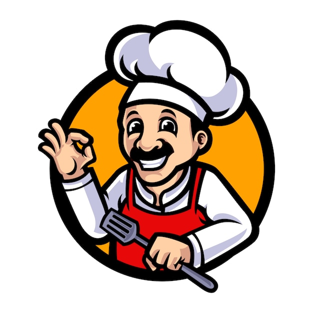 Illustrazione del fumetto della mascotte del cuoco unico Vettore Premium