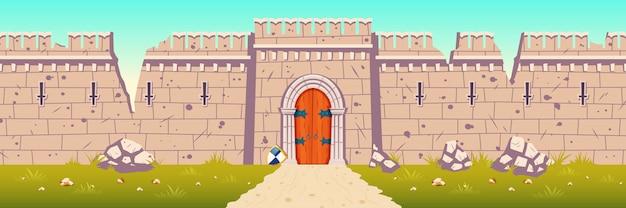 Illustrazione del fumetto della parete rotta e rovinata del castello medievale Vettore gratuito