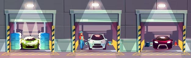 Illustrazione del fumetto della stazione di servizio dell'autolavaggio. lavaggio sorridente felice del lavoratore Vettore gratuito