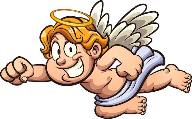 Illustrazione del fumetto di angelo Vettore Premium