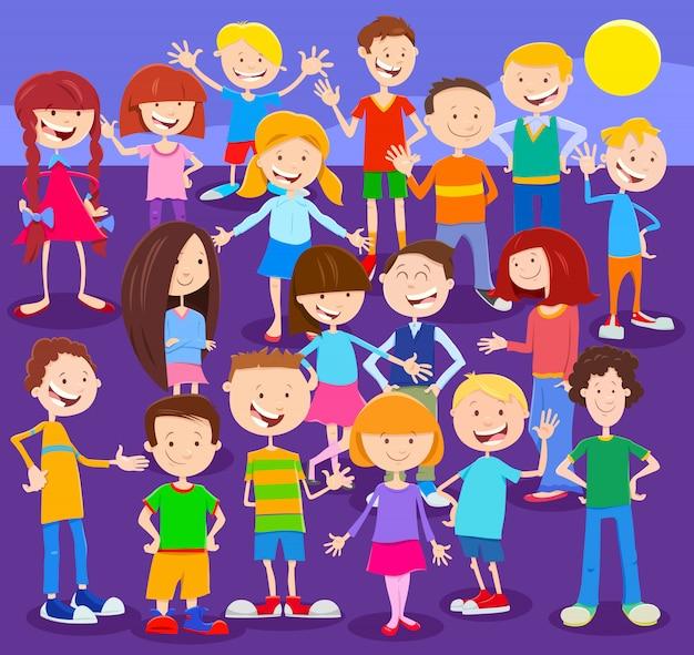 Illustrazione del fumetto di bambini felici o gruppo di anni dell'adolescenza Vettore Premium