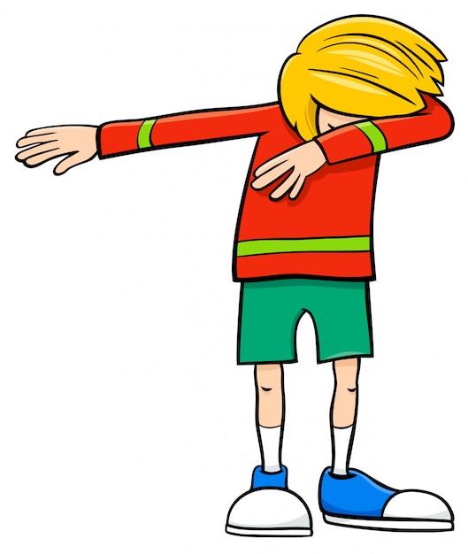 Illustrazione del fumetto di età elementare o adolescente dabbing boy character Vettore Premium