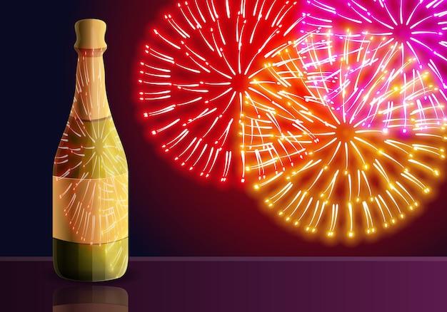 Illustrazione del fumetto di fuochi d'artificio di champagne Vettore Premium